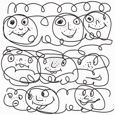 visages drôles dessinés avec une illustration vectorielle crayon