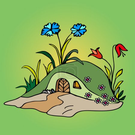Illustration pour Maison de conte de fées pour fée. contours dessinés à la main. Illustration parfaite pour livres et cartes postales pour enfants . - image libre de droit