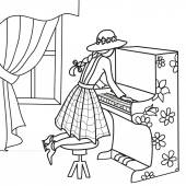 Hand-drawn outline girl in hat playing the piano