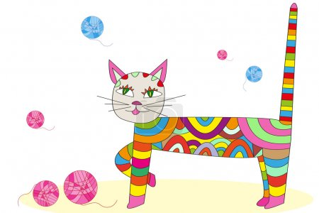 Multicolored cat vector illustration cartoon character, patchwor