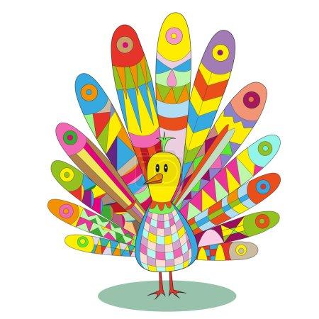Photo pour Multicolore paon vecteur illustration personnage de dessin animé, patchwork de pièces colorées. Peut être utilisé pour des illustrations livres pour enfants, impression sur T-shirts, meubles pour enfants, papier peint, cartes postales, jardins d'enfants - image libre de droit