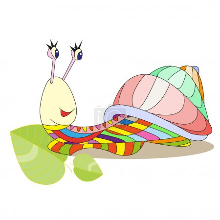 Illustration for Multicolored snail vector illustration cartoon character, patchwork of colored parts. Can be used for illustrations children books, printing on T-shirts, children furniture, wallpaper, postcards, kindergartens - Royalty Free Image