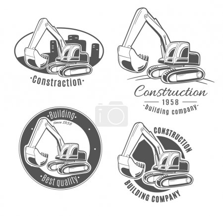 Construction logos with excavator