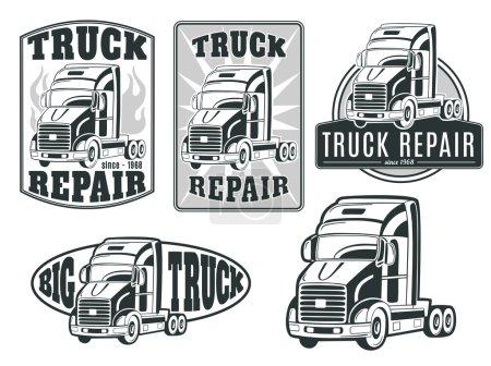 set of transport, truck logos