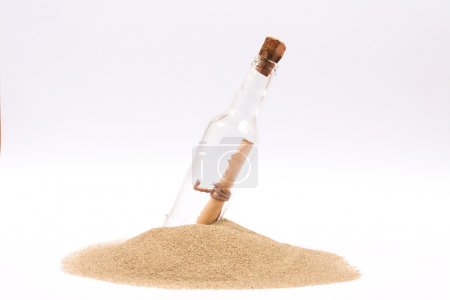 Photo for Isolated message in a bottle on white background - Royalty Free Image