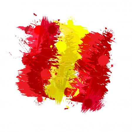 Illustration for Colored splashes in abstract shape, Spanish flag - Royalty Free Image