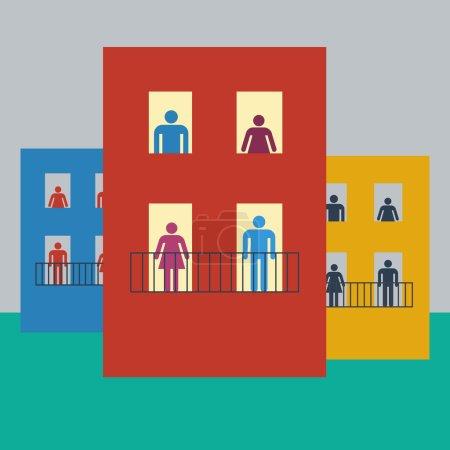 Illustration for Vector illustration life of condominium, flat design - Royalty Free Image