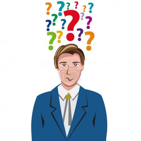 Illustration pour Vector Human Doubt, point d'interrogation dans la tête - image libre de droit