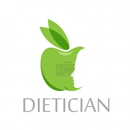 Vector sign diet, dietitian. Green apple