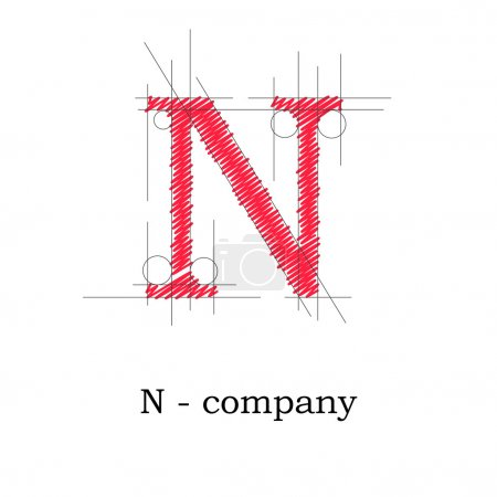 Vector sign design letter N
