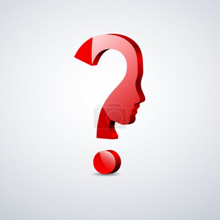 Illustration for Vector 3d sign question mark in the head - Royalty Free Image
