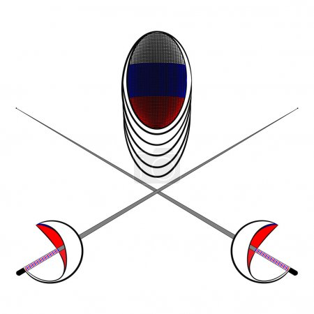 Team Russia. Sports fencing protective mask  with the image of a flag of Russia and a sword to attack. The symbol for fencing of Russia.