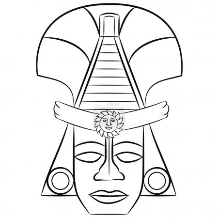 Black and white Mask Aztec ancestors of Mexico on a white background