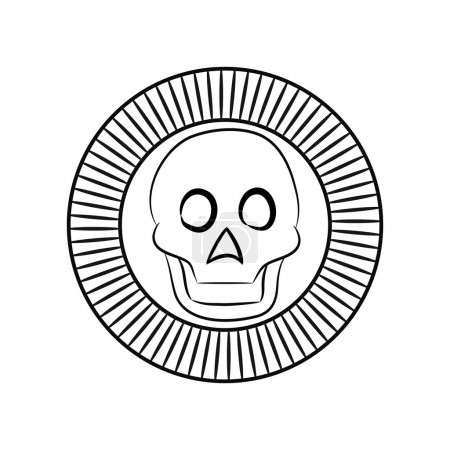 Skull the god of death of Aztecs stylization