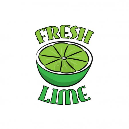 Illustration for Fresh Lime  hand drawn logo, on a white background. - Royalty Free Image