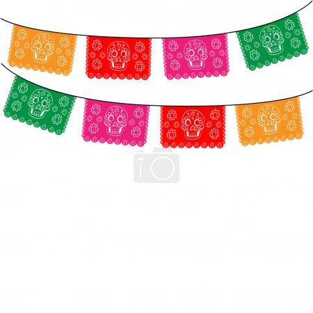 mexico. template with hanging traditional mexican flags