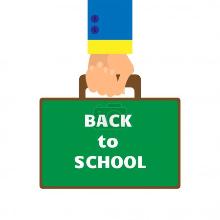 background in a flat style with a hand carrying a briefcase at the school board with the words back to school on a white background