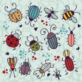 cartoon insects and beetles set