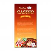 Casino background Vertical banner flyer brochure on a casino theme with roulette wheel game cards and chips Vector illustration