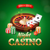 Casino background with roulette wheel chips game cards and dice Vector illustration