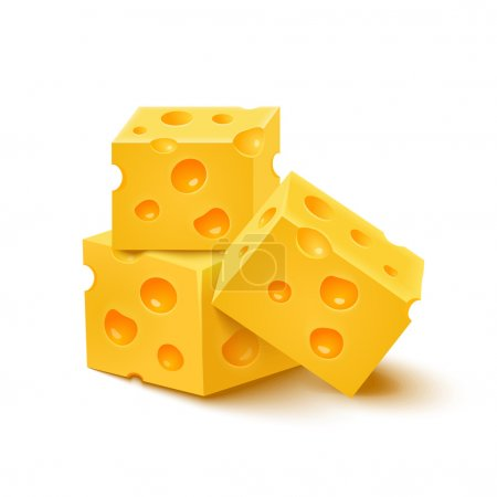 Cubes of yellow cheese on white background. Vector illustration