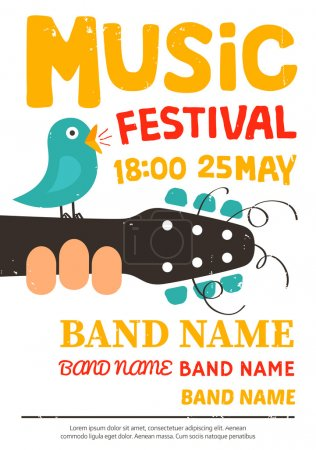 Music festival poster, flyer with a bird singing on a guitar