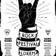 Rock festival poster. Rock and Roll hand sign...