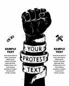 Raised fist held in protest Vector illustration