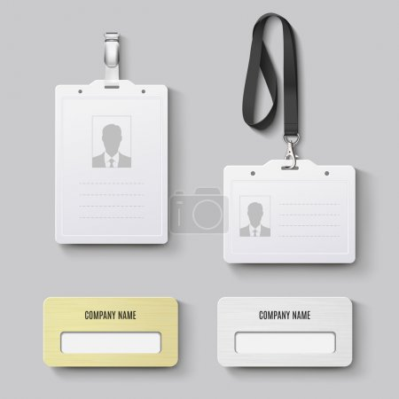 White blank plastic with clasp lanyards identification badge and metal gold, silver id badge. Isolated vector illustration
