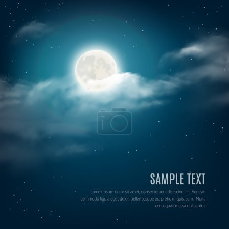 Illustration for Night sky background, cloudy sky with the shining stars and moon. Vector illustration - Royalty Free Image