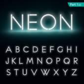 Neon alphabet Glowing font Vector format part 1