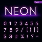 Realistic neon alphabet Glowing font Vector format part 2
