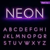 Realistic neon alphabet Glowing font Vector format part 1