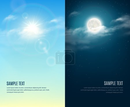 Illustration for Day and night illustration. Sky background - Royalty Free Image