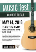 Music festival poster with acoustic guitar Vector illustration