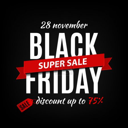 Illustration for Black friday sale inscription design template. Black friday banner. Vector illustration - Royalty Free Image