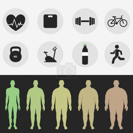 Icons, the figure of a man, sport, fitness, diet. Vector
