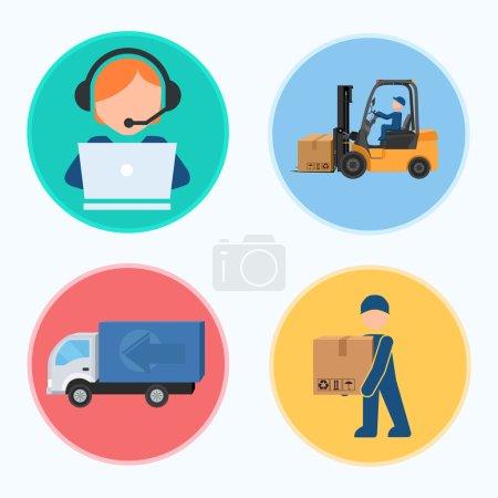 Illustration pour Des icônes. Les étapes de la production. Travail, affaires, employés. Illustration vectorielle . - image libre de droit