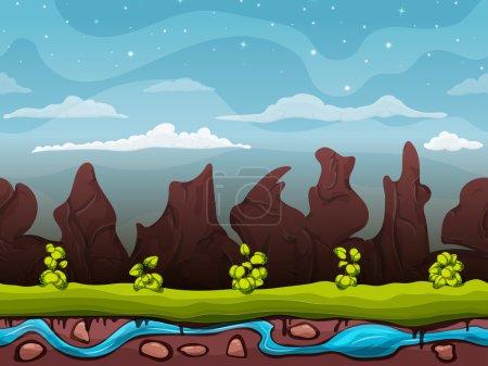 Illustration pour Paysage naturel sans couture de dessin animé, fond sans fin avec le sol, buissons sur le fond des montagnes et des roches avec des couches de ciel nuageux. Illustration vectorielle - image libre de droit