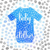 Hand-lettered  a colorful poster advertising children's clothing for boys Vector illustration