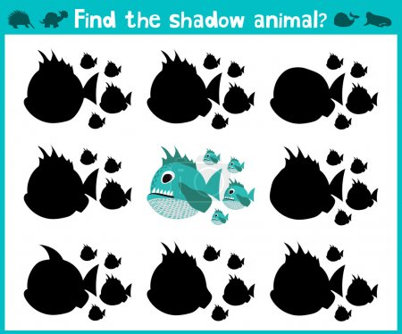 Educational children cartoon game for children of preschool age. Find the right shadow of a predatory fish of the Amazon river piranhas. Vector