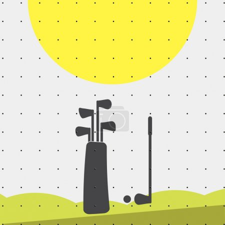 Colorful sports poster-style minimalism flat for commercial websites. The attributes of the Golf bag, putter and ball. Vector