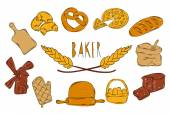 Colourful childrens illustration with a pencil The collection of linear hand drawn iconsBaking icons Vector