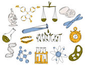 Colourful childrens illustration with a pencil The collection of linear hand drawn icons Icons tools of the biologist Chemical laboratories are Vector illustration