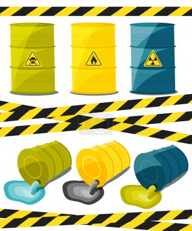 Containers with explosive and reactive substances, waste of chemical industry. Flow of dangerous toxic chemicals. Oil. Vector