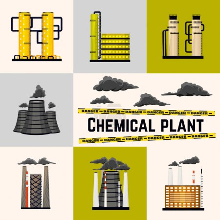 Set of industrial buildings producing energy for humans. Nuclear and power plants. Chemical manufacturing. Vector