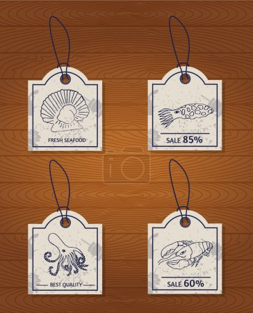 Set of 4 vintage design elements seafood: lobster,...