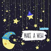Cartoon illustration of hand drawing of a smiling moon and a falling bright stars Make a wish Vector