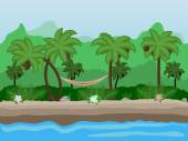 Vector Seamless cartoon nature landscape unending tropical background with beach with palm trees coconuts exotic flowers and multiple levels mountains