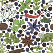 Hand drawn vector seamless pattern eco spices